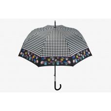 Зонт-трость Maison Perletti Pois e scacchi женский автомат (63/8) черный/белая клетка (16206.2.7669)
