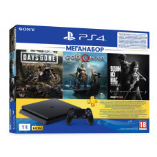 Ігрова консоль Sony PS4 Slim 1Tb (Black) + 3 гри (God of War, Days Gone, The Last of Us) + 3-місячна підписка PSPlus