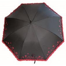 Зонт трость с рюшами женский автомат Neyrat (58/8) черный/рисунок (8379.7669)