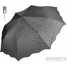 Зонт складной женский облегченный Perletti Chic Черный / Белые цветы (21219;7669)