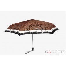 Зонт складной женский Maison Perletti Piatto Pizzo Черный / Коричневое кружево (16225.1;7669)