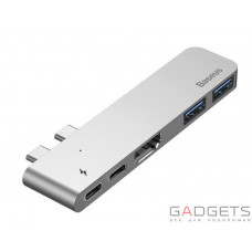 Адаптер Baseus Thunderbolt C+ Dual Type-C to USB3.0/HDMI/Type-C Female HUB Converter Deep Space Grey (CAHUB-B0G)