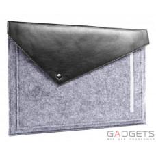 Черный фетровый чехол-конверт Gmakin для Macbook 12 с экокожей (GM13-12)