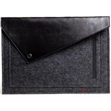 Черный фетровый чехол-конверт Gmakin для Macbook 13 new с экокожей (GM57-13New)