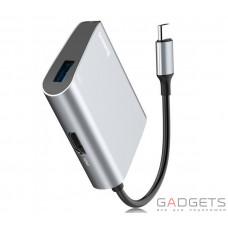 Адаптер Baseus Enjoyment series Type-C to HDMI+USB3.0 HUB Adapter Gray