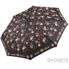 Зонт складной женский облегченный Maison Perletti Черный / Розы (16221.1;7669)