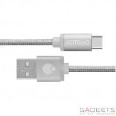 Кабель COTEetCI M20 TYPE-C Cable Silver Nylon, 1.2M