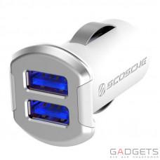 Автомобильное зарядное устройство Scosche 12 Watt USB Car Charger бело/серебристое (USBC242MSR)