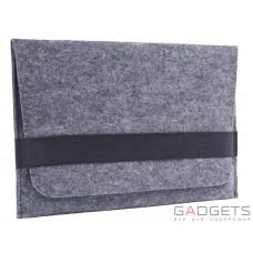 Темный войлочный чехол-конверт Gmakin для Macbook 12 горизонтальный (GM14-12)