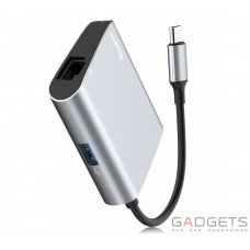 Адаптер Baseus Enjoyment series Type-C to RJ45+USB3.0 HUB Adapter Gray