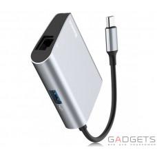 Адаптер Baseus Enjoyment series Type-C to RJ45+USB3.0 HUB Adapter Gray