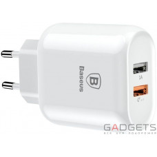 Мережний зарядний пристрій Baseus Bojure Series Dual-USB Quick Charge Charger для EU 18W White (CCALL-AG02)