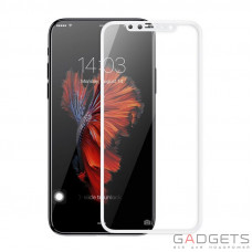 Захисне скло Baseus 0.3mm Silk-screen 3D Arc Tempered Glass White для iPhone X (SGAPIPH8-A3D02)