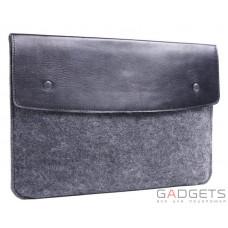 Черный чехол-конверт Gmakin для Macbook 12 с элементами кожи (GM04-12)