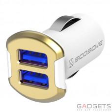 Автомобильное зарядное устройство Scosche 12 Watt USB Car Charger бело/золотое (USBC242MGD)