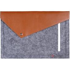 Коричневый фетровый чехол-конверт Gmakin для Macbook 12 с экокожей (GM12-12)