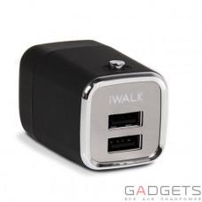 Зарядний пристрій iWALK Dual USB travel adapter with power ON/OFF switch Black