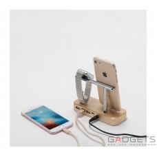 Док-станция COTEetCI Base Hub B18 MFI Stand 3 USB Hub, 1 type-c Gold (CS7200-CEG)