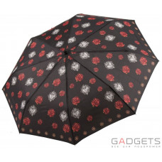 Зонт складной женский облегченный Maison Perletti Черный / Розы (16221.2;7669)