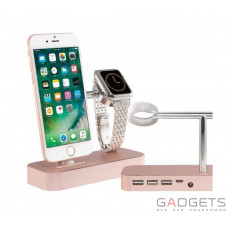 Док-станція COTEetCI Base Hub B18 MFI Stand 3 USB Hub, 1 type-c Rose Gold (CS5019-MRG)