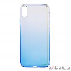 Чехол Baseus Glaze Case Transparent Blue для iPhone X (WIAPIPH8-GC03)