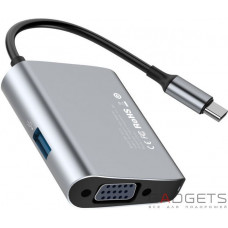 Адаптер Baseus Enjoyment series Type-C to VGA+USB 3.0 HUB Adapter Gray
