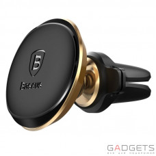 Автомобильный держатель Baseus Magnetic Air Vent Car Mount Holder with Cable Clip Gold (SUGX-A0V)