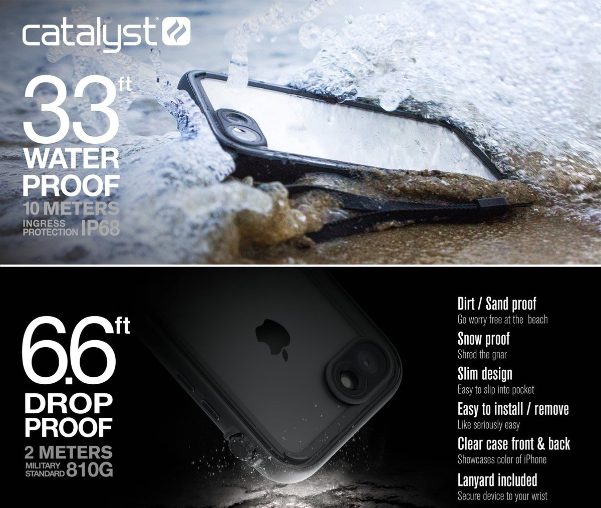 Чехол-накладка Catalyst Waterproof Case для Apple iPhone 7/Apple iPhone 8 (CATIPHO8BLK)