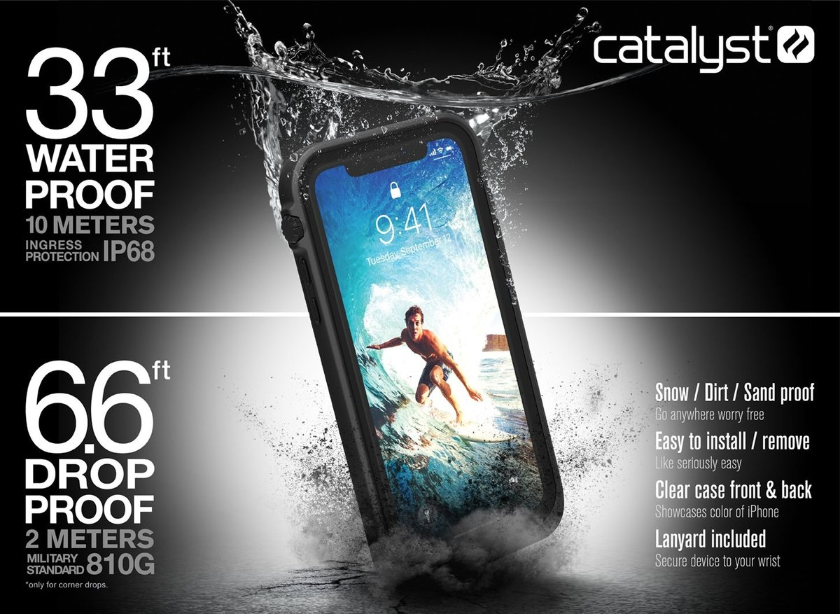 Чехол-накладка Catalyst Waterproof Case для Apple iPhone X (CATIPHOXBLK)